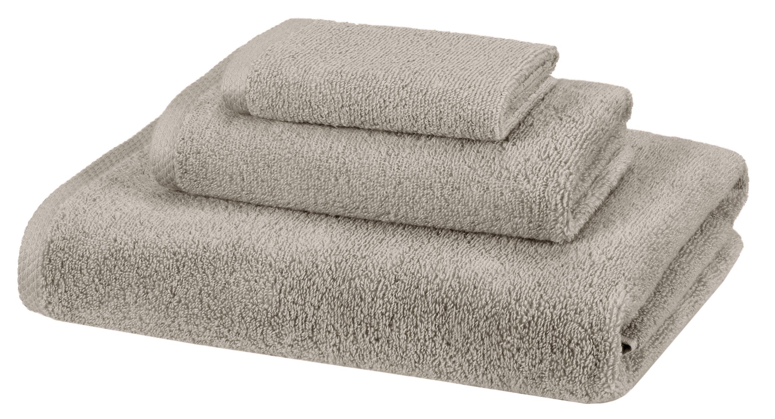 AmazonBasics Quick-Dry Towels - 100% Cotton, 3-Piece Set, Platinum