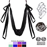 Gpeng Aerial Yoga Swing Sling Strong Yoga Hammock Kit Set Trapeze Inversion Exercises Include Ceiling Mounting Kit and 2 Extensions Straps