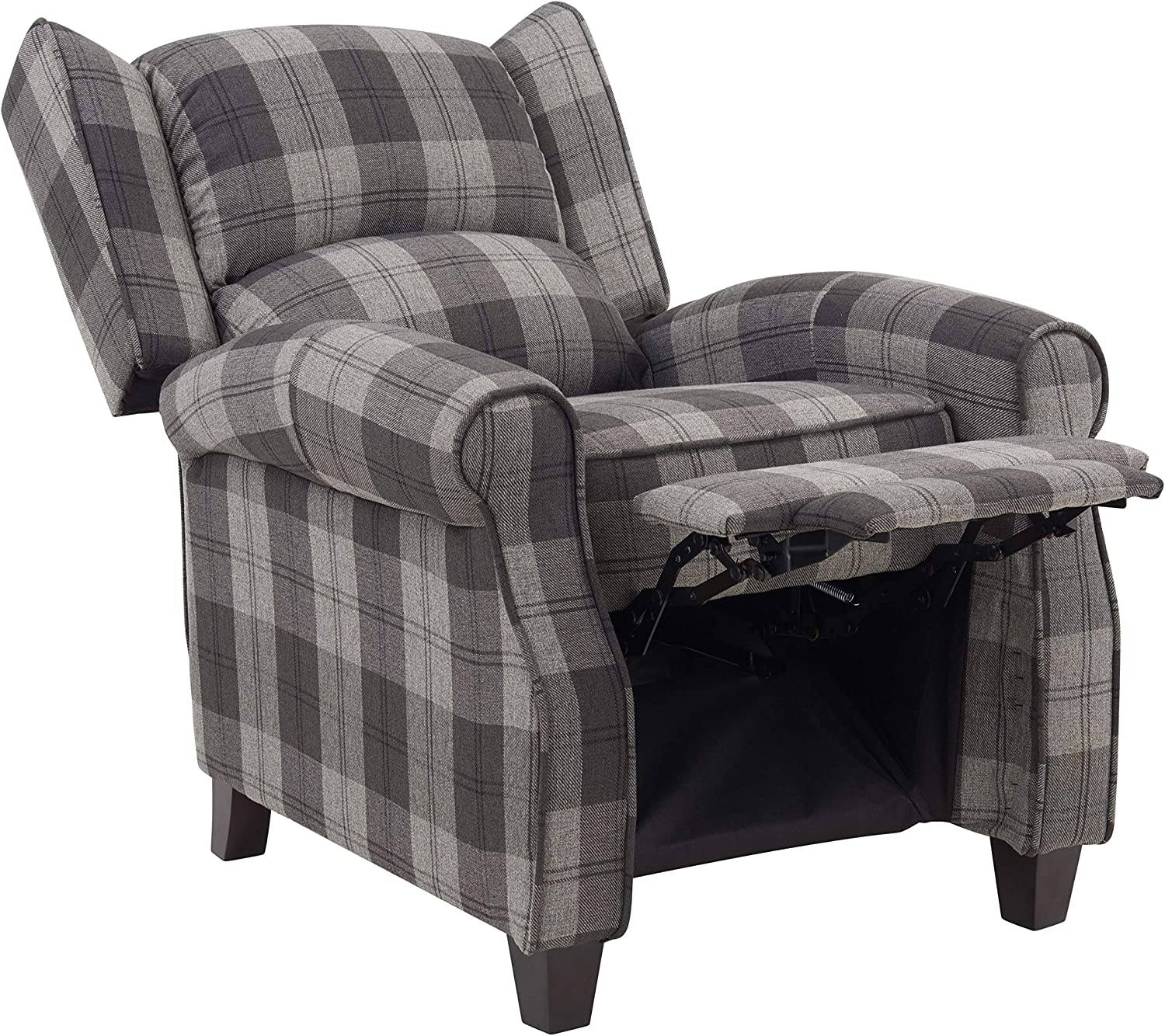 Tartan Fabric Recliner Armchair Upholstered Wing Back Check Lounge Chair in Grey or Beige (Grey)