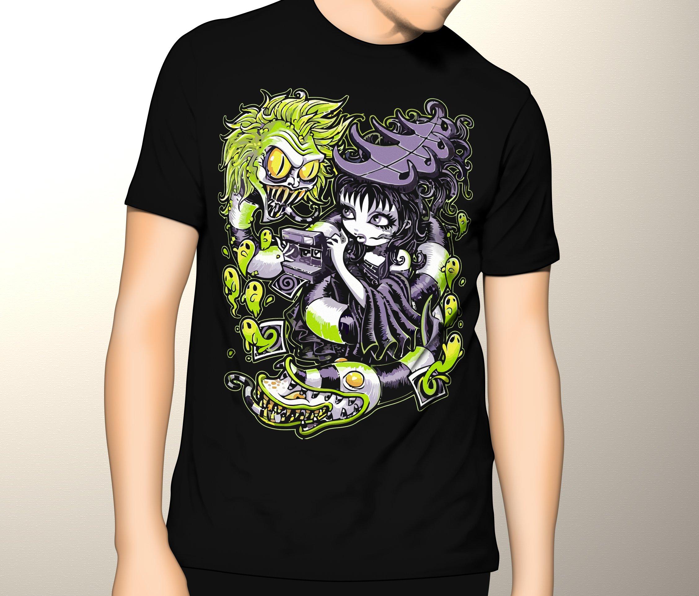 Beetlejuice Shirt, Snakes and Lydia, Gothic Shirt, Premium Graphic T-Shirt