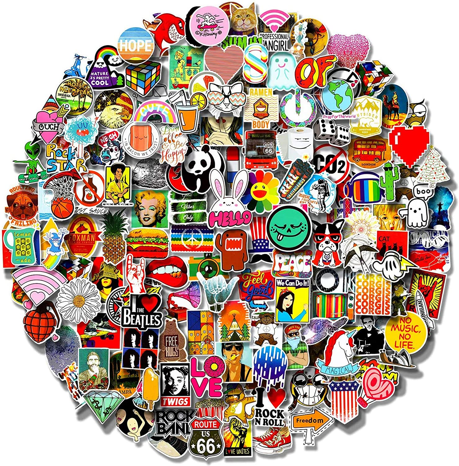 200 PCS Stickers Pack (5-500Pcs/Pack), Cool Waterproof Stickers for Flask, Water Bottle, Laptop, Phone, Aesthetic Vinyl Stickers for Children,Teens,Adults