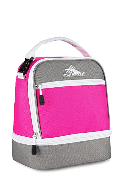 Bolsa de Almuerzo con Compartimento apilado de Alta Sierra, Color Flamingo/Charcoal/White