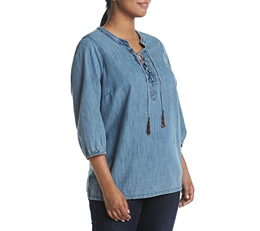 d4f633af113 Ruff Hewn Plus Size Denim Lace up Shirt - Blue -  Amazon.co.uk  Clothing