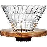 HARIO (ハリオ) V60 耐熱ガラス 透過  コーヒードリッパー オリーブウッド 02 コーヒードリップ 1~4杯用  VDG-02-OV