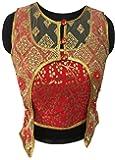 Shreeji Designer Women's Jacquard Silk & Soft Net Fashion Neck With Shrug Pearl and Embroidery Work Free Size Ready Made Blouse DKF_117_1