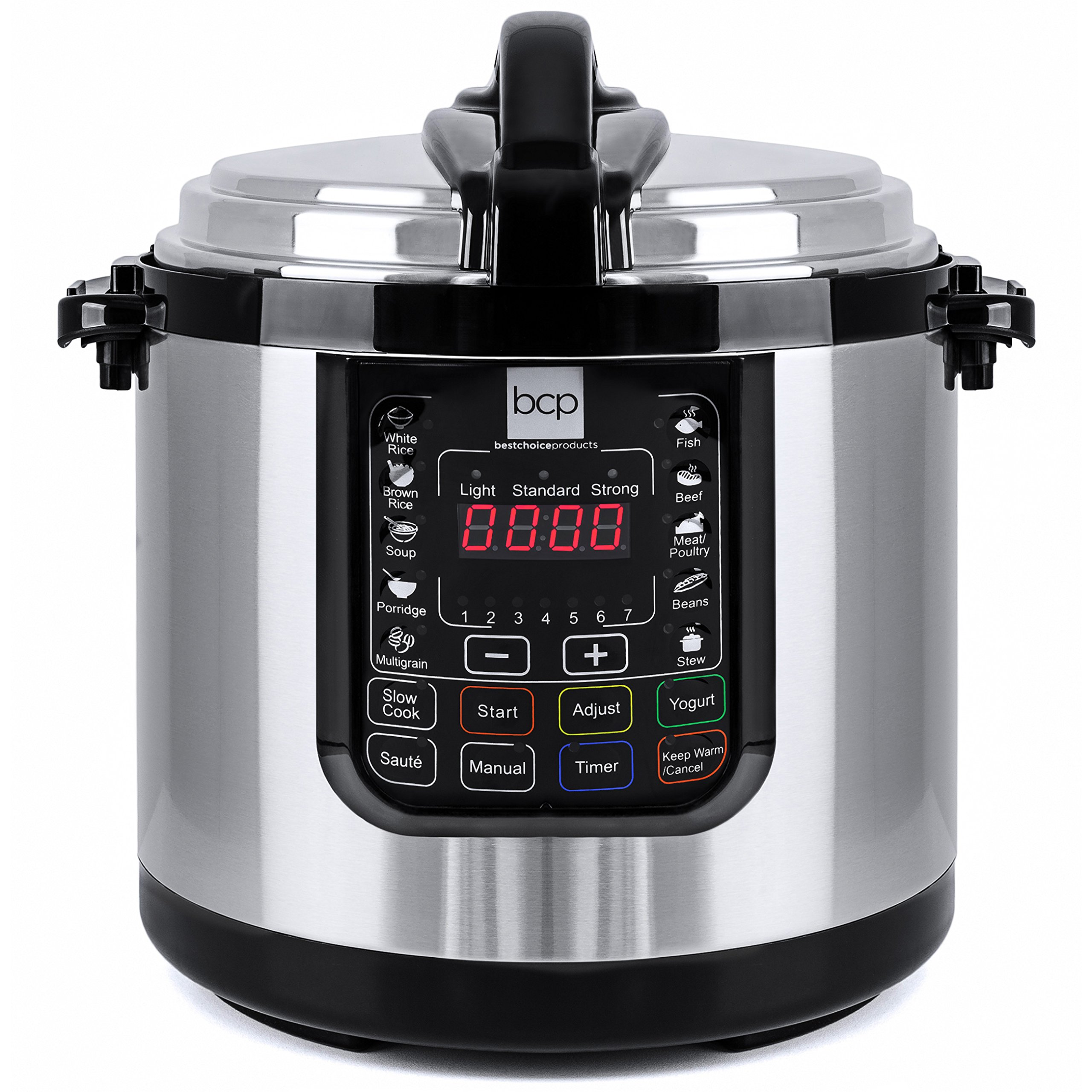 Best Choice Products 6L 1000W Multifunctional Stainless Steel Non-Stick Electric Pressure Cooker w/LED Display Screen, 10 Settings, 3 Modes - Silver