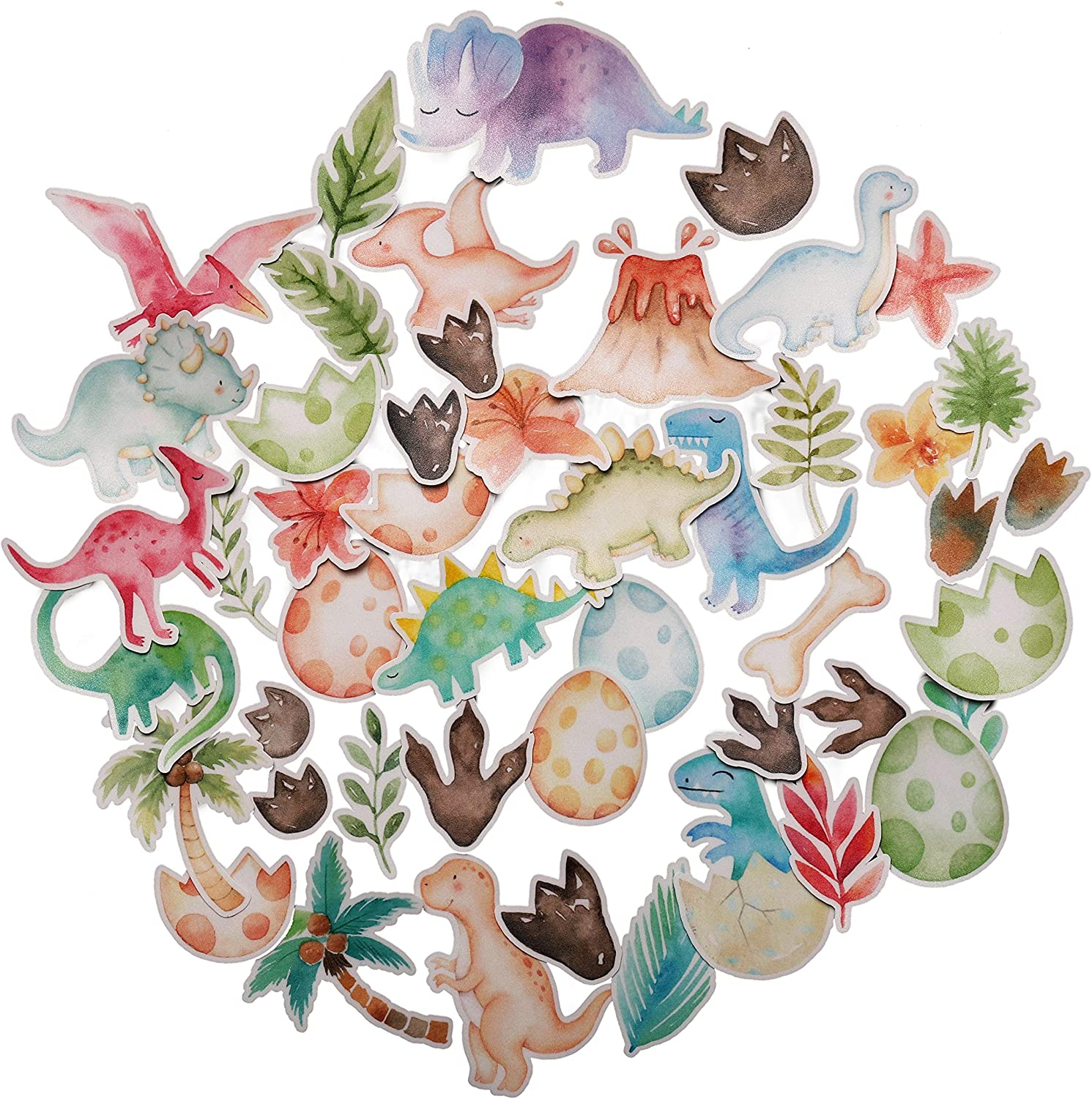 Navy Peony Fun Dinosaur Stickers for Kids (44 Pack) - Small, Cute, Waterproof and Durable   Assorted Animal Decals for Party Favors, Laptops, Water Bottles