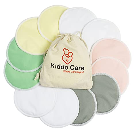 81f50bc85a Kiddo Care Washable Organic Bamboo Nursing Pads -12 Pack Colored (6 Pairs)-