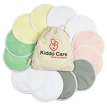 3f15f24c3a0fe Kiddo Care Washable Organic Bamboo Nursing Pads -12 Pack Colored (6 Pairs)-