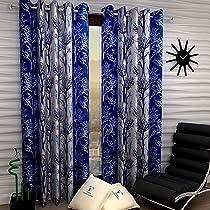 Fashion String 2 Pieces Window Curtain Set, 5 feet long ,Blue