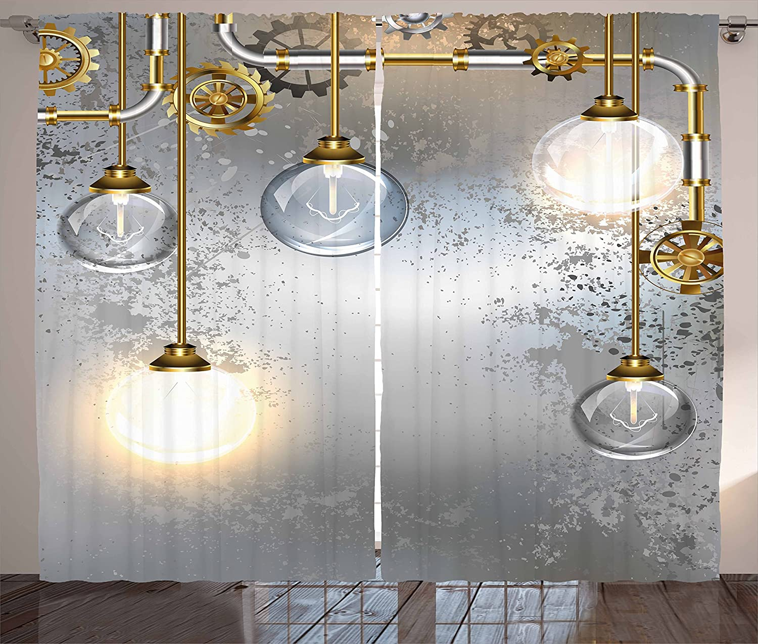 Ambesonne Industrial Curtains, Steampunk Style Antique Composition Brass Fastening Round Print, Living Room Bedroom Window Drapes 2 Panel Set, 108