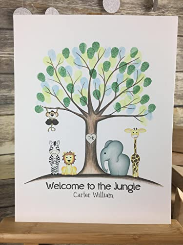 Amazon customized jungle safari animal fingerprint tree customized jungle safari animal fingerprint tree guestbook sciox Images