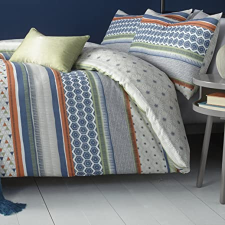 d46cbaa39b29 Fusion Retrace Stripe Print Reversible Duvet Cover Set, Multi, Single:  Amazon.co.uk: Kitchen & Home