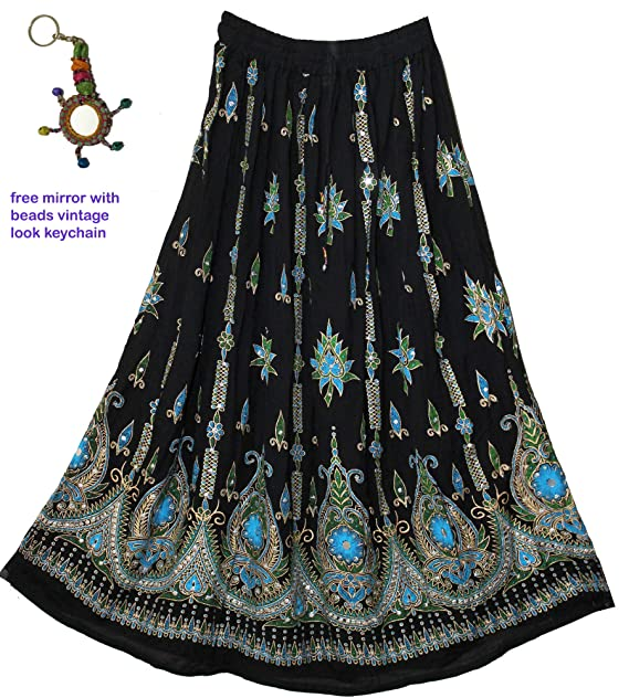8f0546bfe39 Fashion of India Women s Long Bohemian Maxi Skirt - Gypsy Hippie Boho Chic  Style Dress -