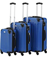 VonHaus 3-Piece Luggage Set made from ABS - Large, Medium and Carry On Suitcase with Wheels, Lock and Telescopic Handle