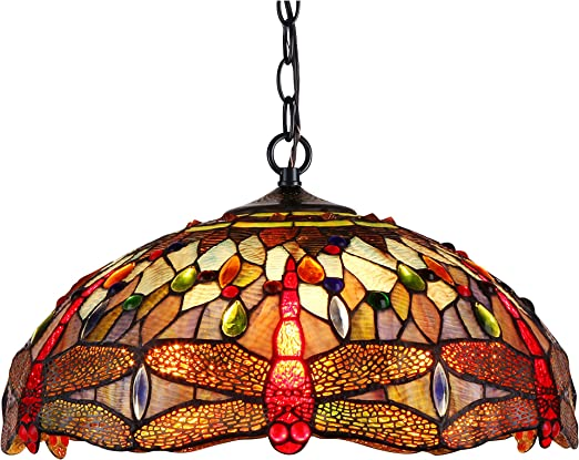 Chloe Lighting Ch38548rd18 Dh2 Tiffany Skimmers Tiffany Style 2 Light Dragonfly Ceiling Pendant Fixture 18 Shade Multi