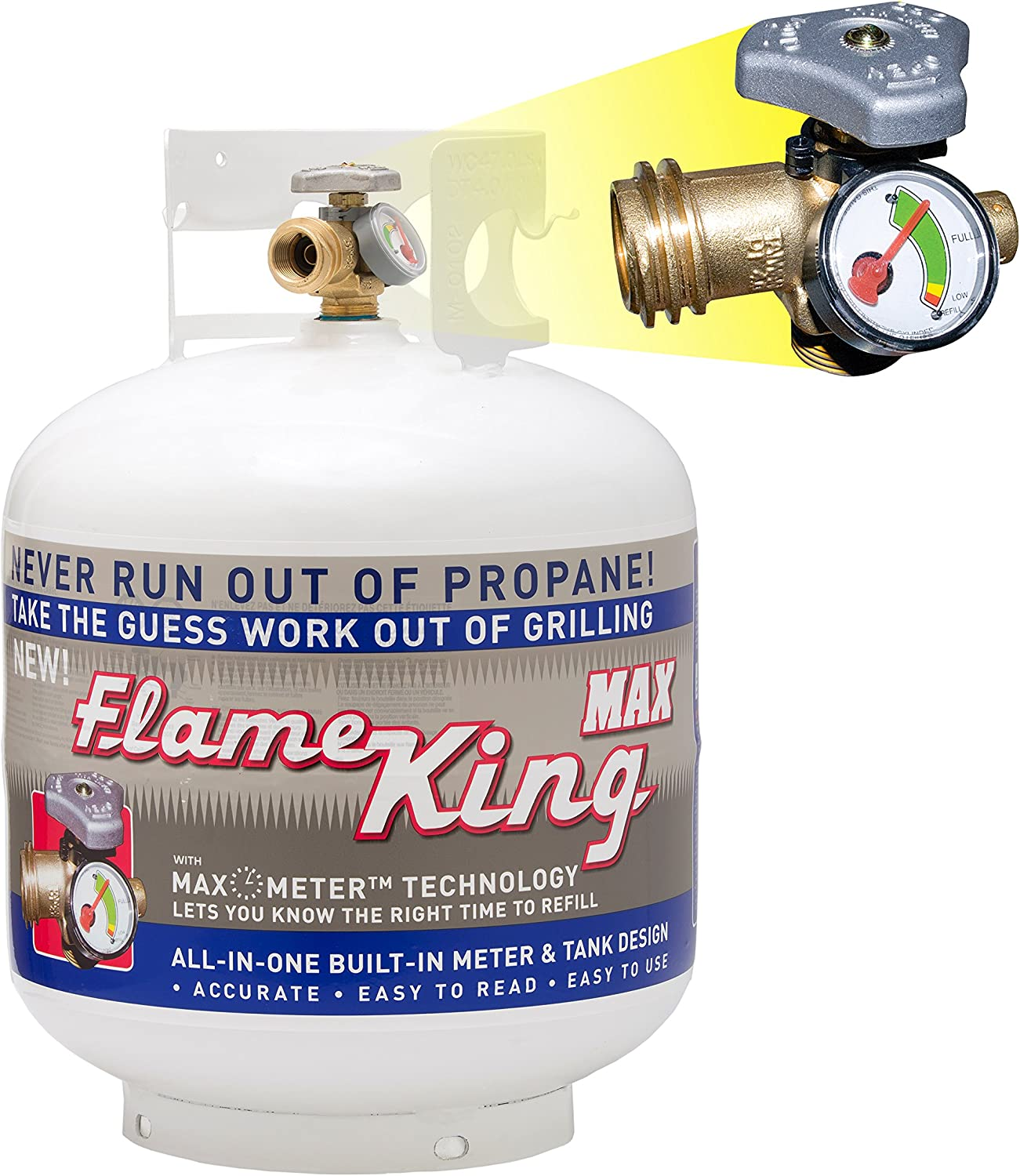 Flame King YSN230b 20 Pound Steel Propane Tank Cylinder with OPD Valve and Built-in Gauge 20 lb Vertical