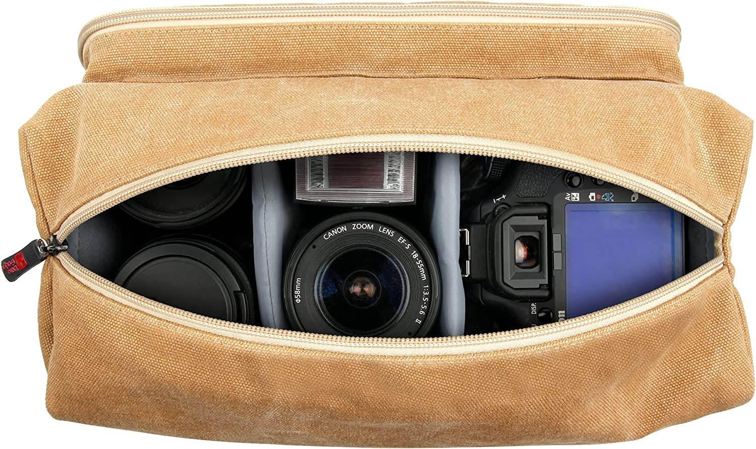 DURAGADGET Tan-Brown Large Sized Canvas Carry Bag with Multiple Pockets /& Customizable Interior Compartment Compatible with Energy Sistem Music Box BZ3