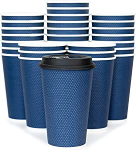 Glowcoast Disposable Coffee Cups With Lids - 16 oz To Go Coffee Cup With Lid (70 Set). Large Togo Travel Paper Hot Cups Insulated For Hot and Cold Beverage Drinks, No Sleeves Needed (Midnight Blue)