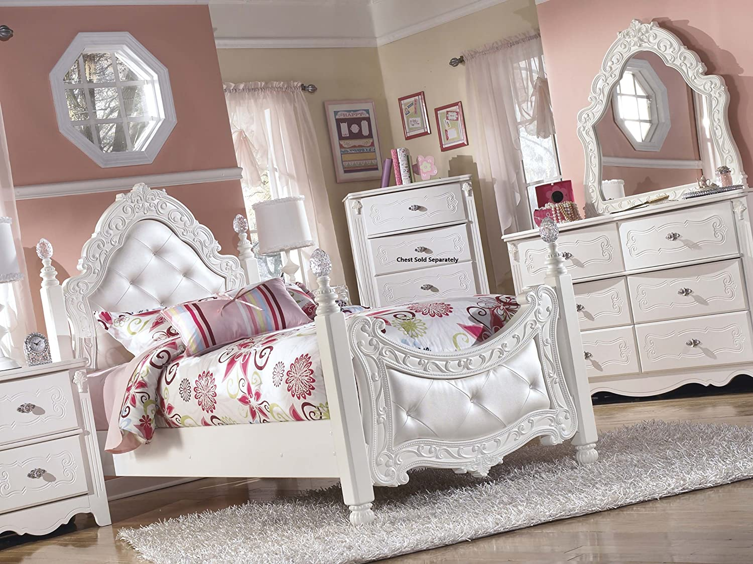 Amazon.com: Exquisite Youth Twin Size Poster Bed Room Set in White ...