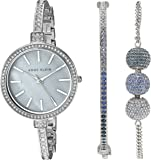 Anne Klein Women's AK/2353BLST Multi-Colored Swarovski Crystal Accented Silver-Tone Bangle Watch and Bracelet Set