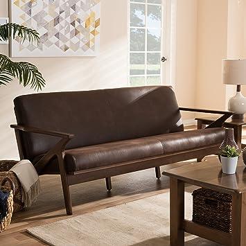 Baxton Studio Bianca Faux Leather Sofa in Dark Brown and Walnut Brown