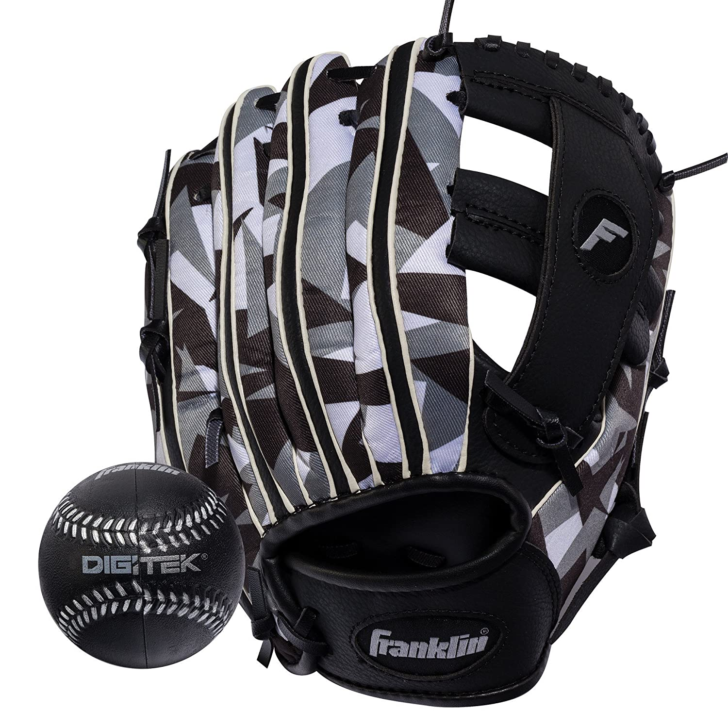 Franklin Sports RTP Teeball Performance Gloves and Ball Combo, 9.5-Inch, Right Hand Throw, Black/White 22839
