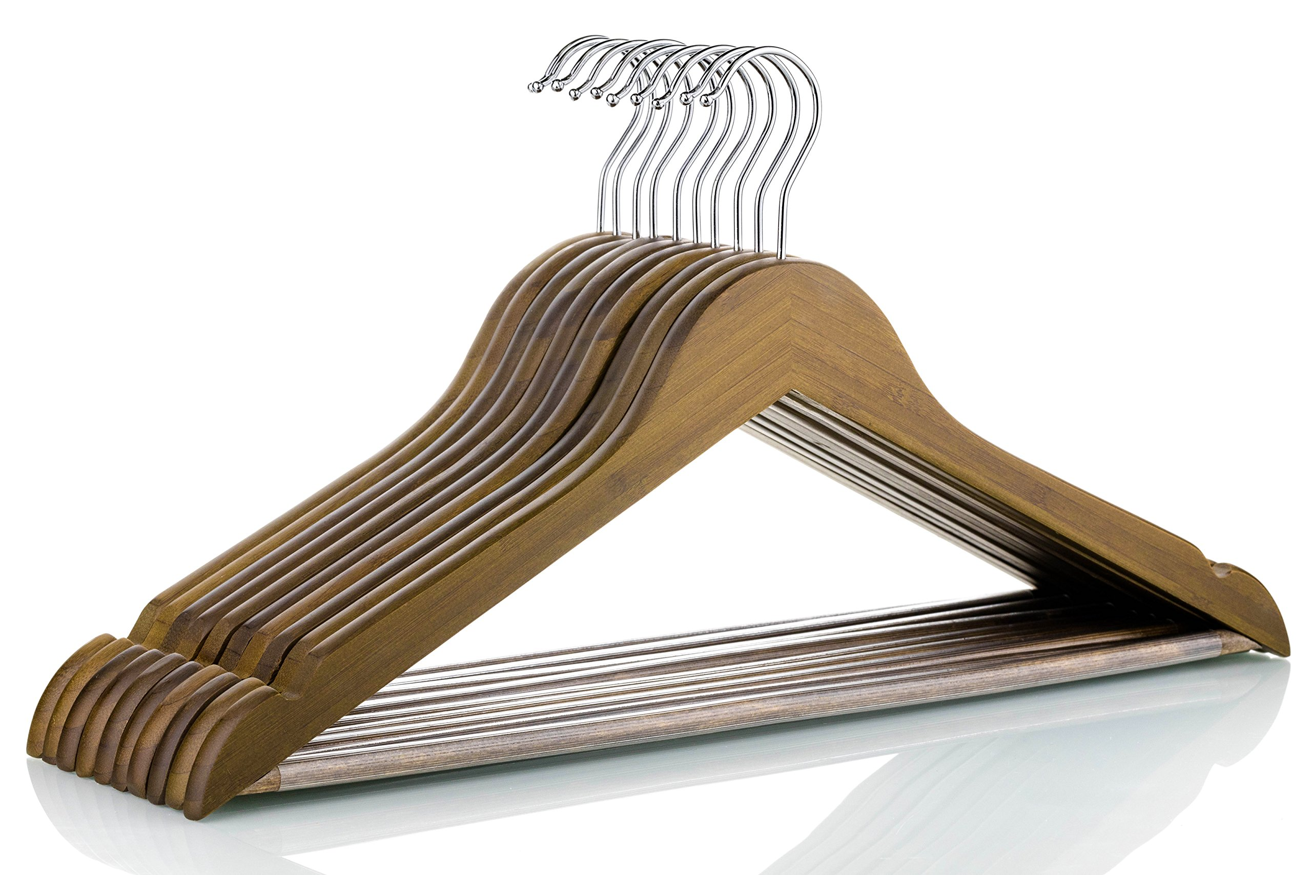 Neaties Bamboo Walnut Wood Hangers with Notches and Non-Slip Bar, 24pk by Neaties (Image #2)