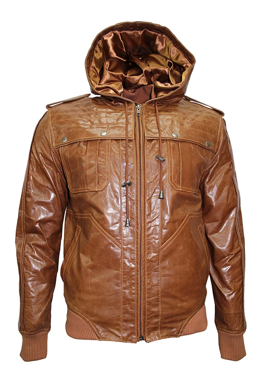 New 648 TAN GLAZE Men's Bomber Hoody SlimFit Stylish HipHop Italian Leather Jacket