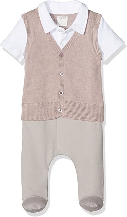 d649e2f74 Mamas   Papas Baby Boys  Mock Knit Tank Aio Footies 6-9 Months ...