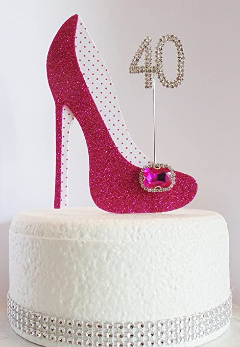 40th Birthday Cake Decoration Shoe With Diamante Number Non Edible