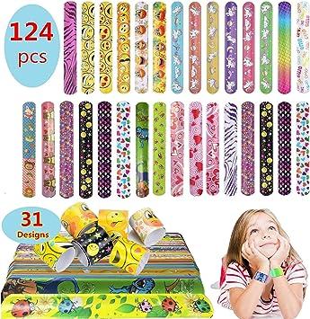 Pachock 124pcs Slap Bracelet Bandas Slap con 31 diseños para Rellenos de Bolsos para Fiestas, Hermoso Regalo, Favores de Fiesta de cumpleaños para niños.: Amazon.es: Juguetes y juegos