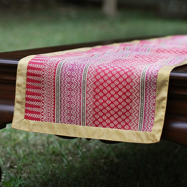 NOVICA TWE0138 Brown Lotus Cotton Blend Table Runner