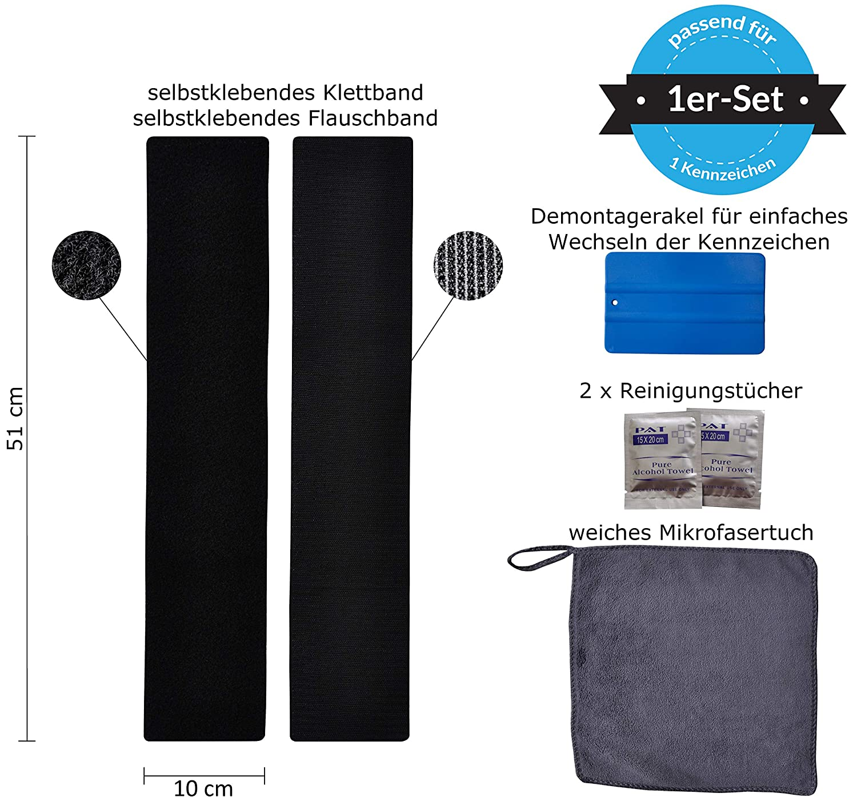 Juego de soportes para matr/ícula Rahmenlos Velcro autoadhesivo 50/x 10/cm, EXTREMADAMENTE fuertes y wetterfester adhesivo y cierre de velcro