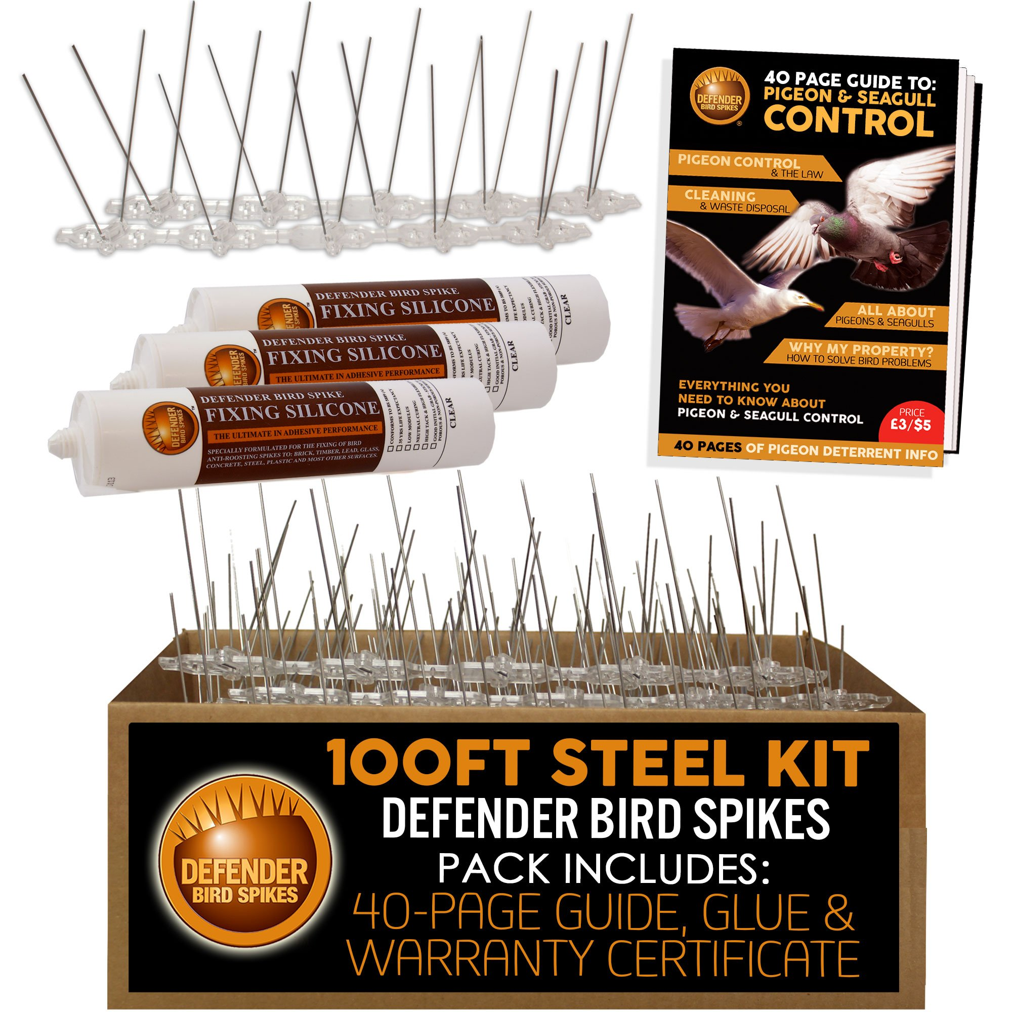 Defender Stainless Steel Pigeon Spikes Kit | 100 Feet with Glue | Various Size Kits by Defender Bird Spikes