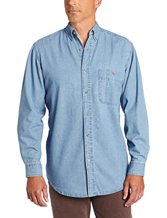 f7142783 Wrangler Men's Rugged Wear Basic One-Pocket Denim Shirt at Amazon Men's  Clothing store: Button Down Shirts