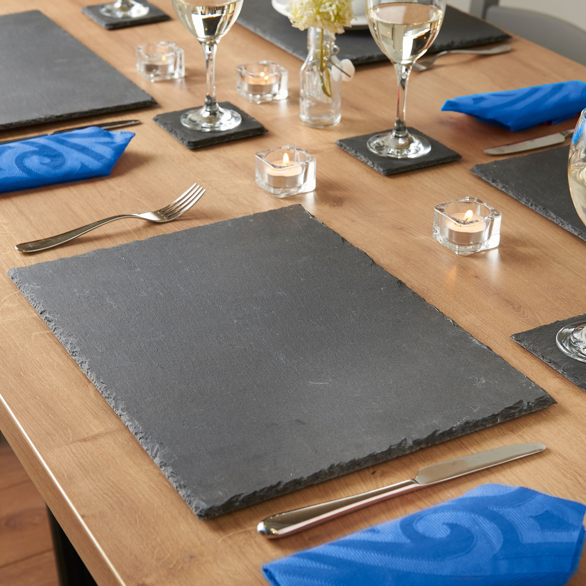 Vonshef Natural Slate Placemat And Coaster Dining Table