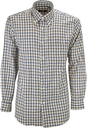 el Hombre de La Camisa Azul Clásico a Cuadros Marrón Beige de Franela, Ligero - Botón de Abajo - Grino - L: Amazon.es: Ropa y accesorios