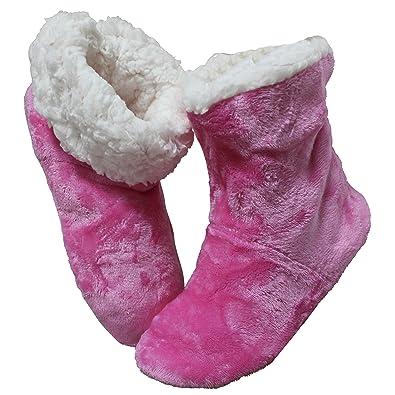 FERETI 36-38 Hüttenschuhe Damen Hausschuhe Gummi Sohle Pink Rosa Haus Stiefel Hausschuhe Pantoffel Schuh Hüttenschuhe Hüttenstiefel Hüttenschuh MDvgOb