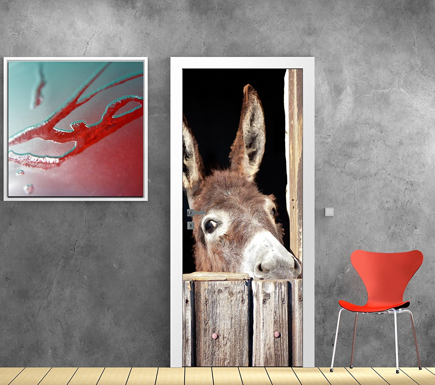Donkey Design Door Sticker, Ref 712, 63x204cm Stickersnews