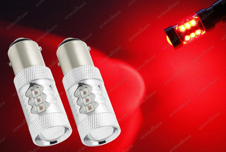 2x BAY15d 380 P21//5W 1157 LED Reverse Rear Fog Tail Brake Stop Parking Light Red