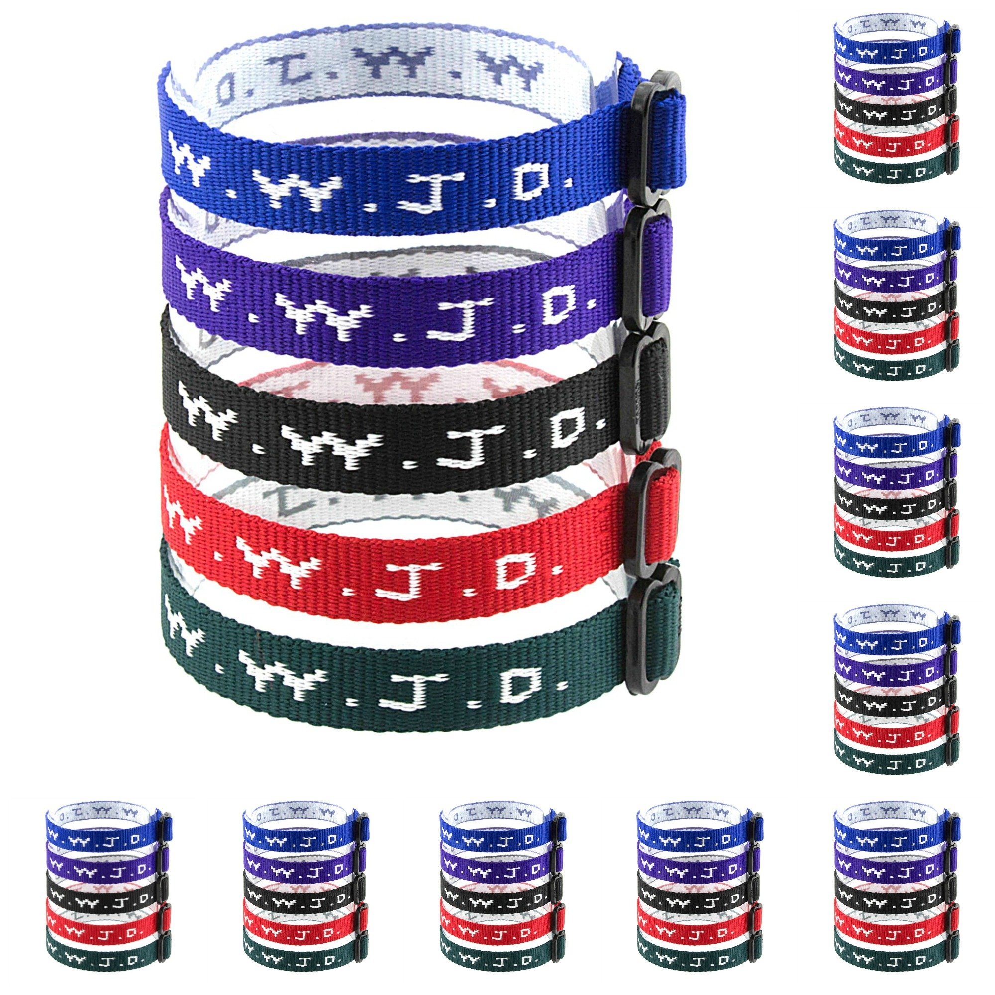 100 WWJD Bracelets - What Would Jesus Do Woven Wristbands Per Pack - Religious Christian WWJD Bracelet for fundraisers Red, Green, Blue, Black and Purple Colors Perfect for Men Women Boys and Girls