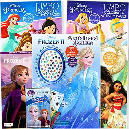 Amazon.com: Disney Princess Coloring Book Super Set For Kids - Activities,  Stickers And Games - Featuring Disney Princess, Frozen And Moana: Toys &  Games