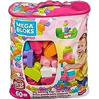 Mega Bloks Juego de construcción de 60 piezas, bolsa ecológica rosa, juguetes bebe 1 año (Mattel DCH54)