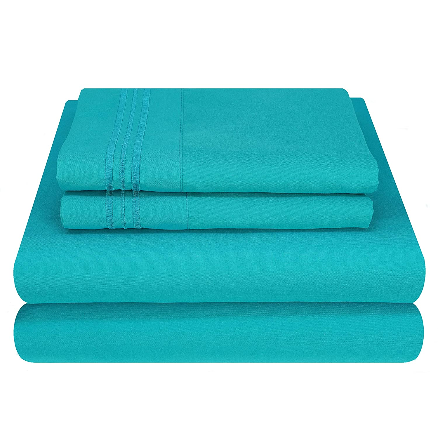 Mezzati Luxury Bed Sheet Set - Soft and Comfortable 1800 Prestige Collection - Brushed Microfiber Bedding (Ocean Teal, Cal King Size)