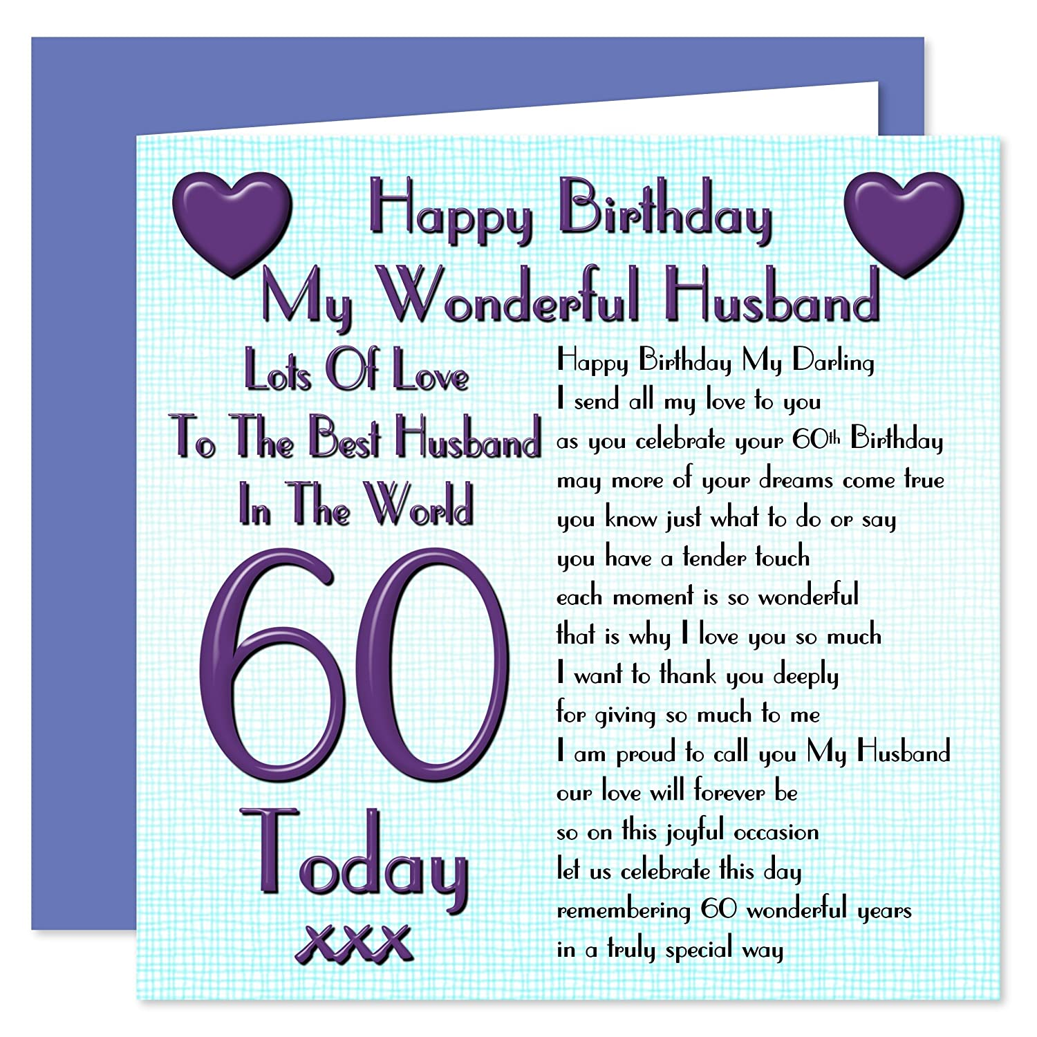Husband 60th Happy Birthday Card Lots Of Love To The Best – Birthday Cards for Husband with Love
