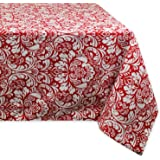 DII 100% Cotton, Machine Washable, Everyday Damask Kitchen Tablecloth for Dinner Parties, Summer & Outdoor Picnics - 60x84 Seats 6 to 8 People, Tango Red