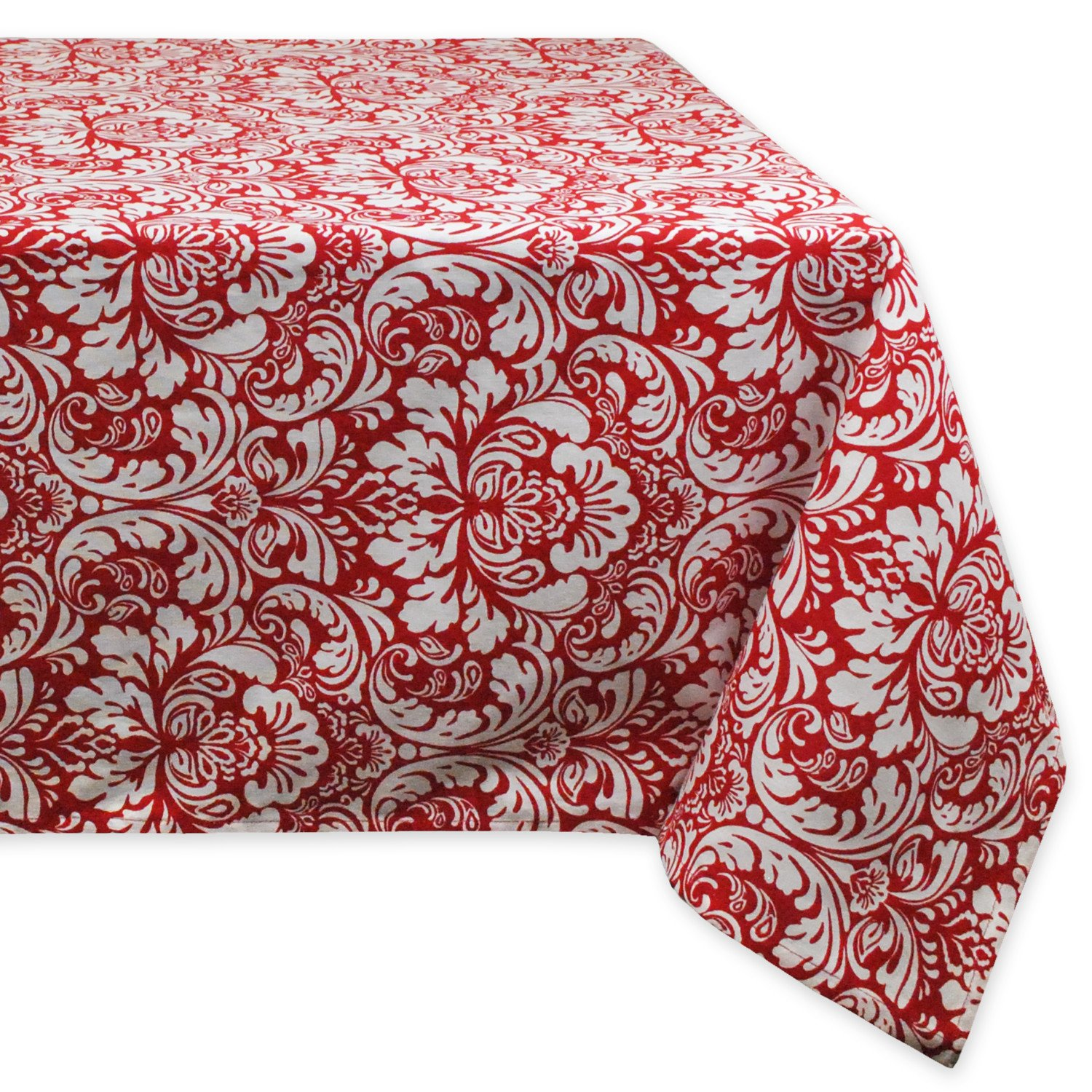 "DII 100% Cotton, Machine Washable, Everyday Damask Kitchen Tablecloth For Dinner Parties, Summer & Outdoor Picnics - 60x104"" Seats 8 to 10 People, Tango Red"