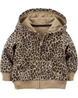 Carter's Baby Girls' French Terry Hoodie (18 Months, Cheeta)