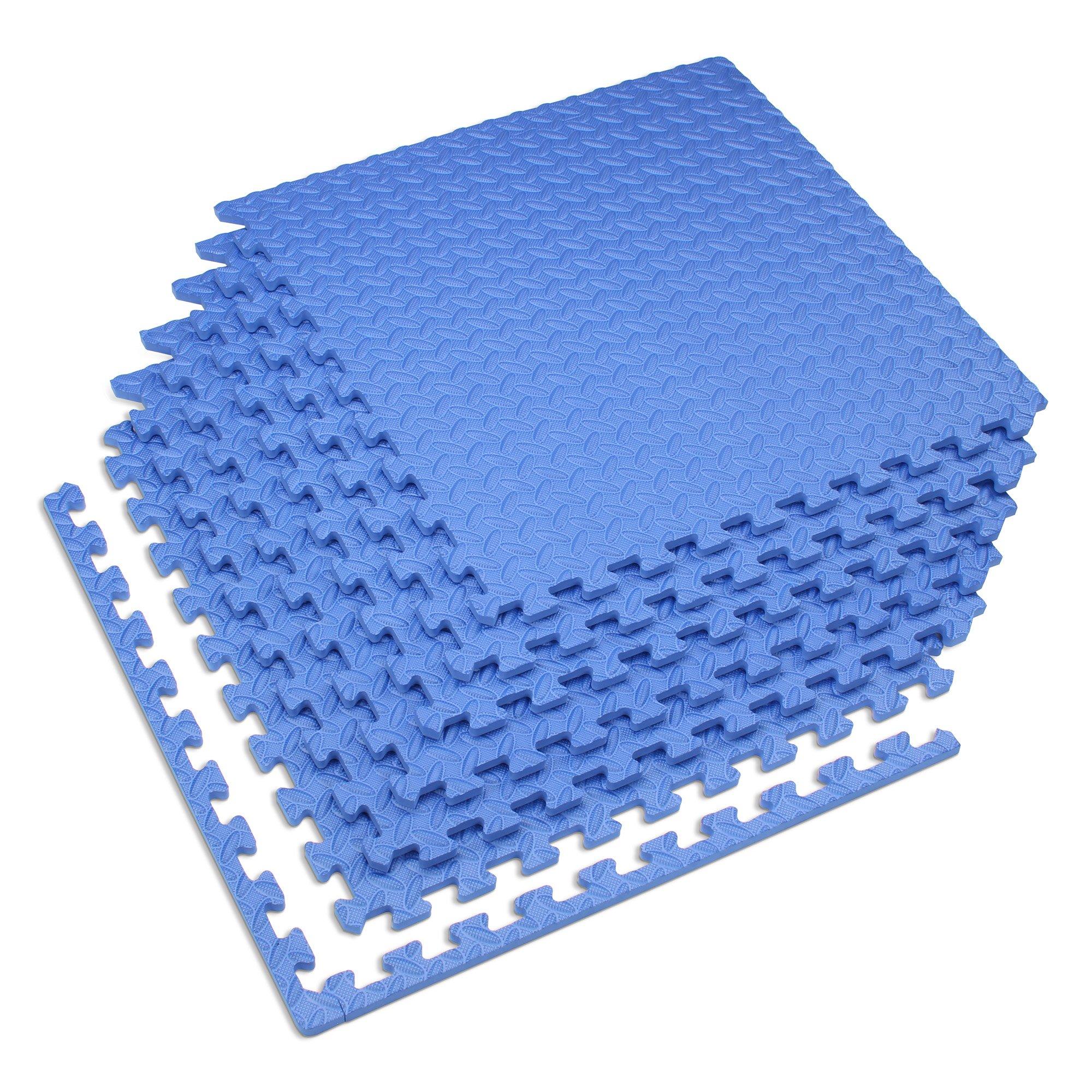 Velotas Blue, 48 sq' (12 Tiles) Blue 1/2'' Thick Interlocking Foam Fitness Mat